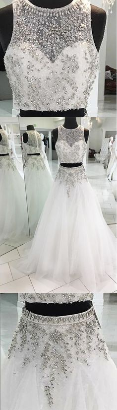 Stunning white tulle two pieces beaded round neck halter prom dresses, Shop plus-sized prom dresses for curvy figures and plus-size party dresses. Ball gowns for prom in plus sizes and short plus-sized prom dresses for Cute Prom Dresses, Grad Dresses, Pretty Dresses, Homecoming Dresses, Beautiful Dresses, Evening Dresses, Formal Dresses, Wedding Dresses, Modest Wedding