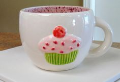 Pink Cupcake Mug  Hand Painted Ceramic Cup by claytopia on Etsy, $18.00