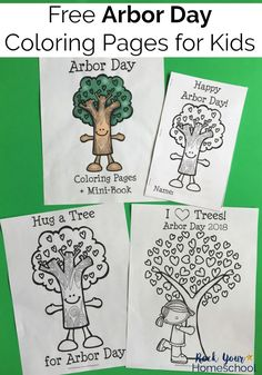 These free Arbor Day coloring pages & mini-book printables help you easily celebrate this fun holiday! #ArborDay #coloringpages