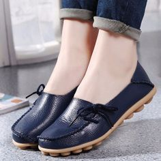 37de2eeeb73 Big Size Pure Color Slip On Lace Up Soft Sole Comfortable Flat Loafers Flat  Shoes