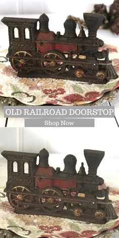 Perfect gift for train lovers and collectors. If you love vintage please make sure to check out my Glamorously Vintage for shop for other amazing Etsy products. Vintage Metal, Unique Vintage, Vintage Photos, Vintage Office Decor, Doorstop, Antique Auctions, Red Paint, Natural Cleaning Products, Cool Items