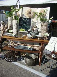 Sobo Style - beautiful vintage display...and love the white birch!!  http://www.sobostyle.com/home_1.shtml
