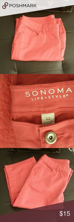 "Sonoma Modern Fit Capris Size 12 Modern Fit Capris are  NWOT condition.  Please note,  the color is a dark orange and is best represented by photo 2. Embroidered detail down the side of each leg.  Perfect for fall!  Measure: W34"", H42"", R10.5, I18"" Sonoma Pants Capris"