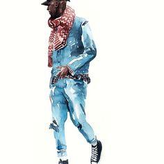 Fashion Sketches, Art Sketches, Street Fashion, Men's Fashion, Man Illustration, House Music, Watercolour Painting, Artsy Fartsy, Mens Suits