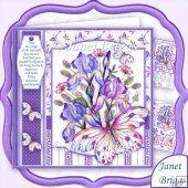 IRIS & BUTTERFLIES 8x8 Floral Decoupage Kit