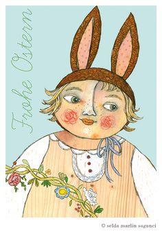"""Ostern - Postkarten-Set """"Frohe Ostern"""" - 3 Stück -  - ein Designerstück von selda bei DaWanda"""