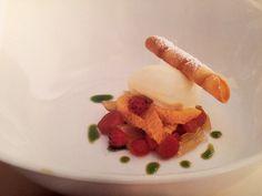 """Salad"" du Printemps, Rhubarb Confit with Navel Oranges, Candied Fennel, and Mascarpone  Sorbet"