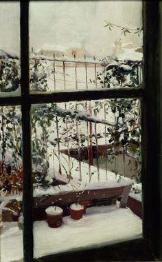 Snow Terrace - Joaquin Sorolla i BastidaSpanish Giovanni Boldini, Spanish Painters, Spanish Artists, Window View, Window Art, Building Painting, My Art Studio, Nevada, Through The Window