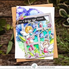 Hello friends, today I have a card for Hello Bluebird using the Fairy Garden Stamp Set. I paired this set with the Gallery Frame 3 Die. Card Kit, I Card, Glitter Frame, Silver Glitter, Aqua Color Schemes, Lawn Fawn Blog, Small Cards, Cool Cards, Kids Cards