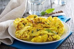 How to make some delicious cauliflower steaks? This spicy grilled cauliflower steaks recipe discusses how to make a uniq. Grilled Cauliflower, Cauliflower Dishes, Vegetable Dishes, Cauliflower Nuggets, Grilling Recipes, Vegetable Recipes, Vegetarian Recipes, Healthy Recipes, Cauliflowers