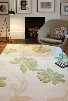 Teppich Wohnzimmer Carpet modernes Design VOQUE FLORAL RUG 100% Polypropylene 120x170 cm Rechteckig Grün/Beige   Teppiche günstig online kaufen  https://www.amazon.de/dp/B017RBA0HC