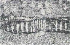 Vincent Van Gogh - Starry Night Pen Drawing Arles: 28-Sep, 1888