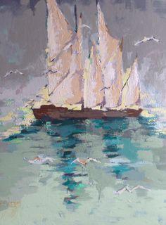 "Gary Bodne, ""The Long Road Home"", Mixed Media on Canvas, 40x30 - Anne Irwin Fine Art"