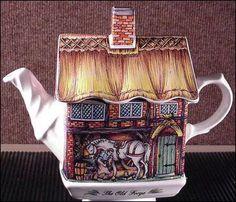 Thatched roof cottage w/horse. James Sadler Ware