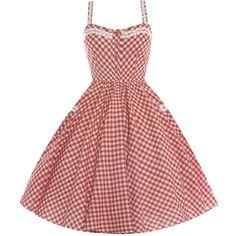 Corinna Burnt Orange Gingham (3090 RSD) ❤ liked on Polyvore featuring dresses, orange, red summer dress, skater skirt, red skater skirt, flared skirt and strappy summer dresses