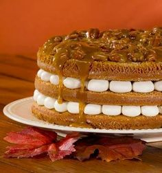 Pumpkin Pecan Praline Torte is a holiday showstopper, with moist layers of pumpkin cake and cream cheese frosting sandwiched in between. Drizzled with pecan praline topping.