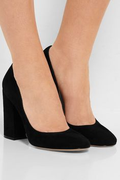 Heel measures approximately 100mm/ 4 inches Black suede Slip on Made in Italy