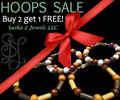 HOOPS GALORE!    Sale this week only!   Browse our jewelry designs for your hoop style!  ...at Sasha L Jewels LLC