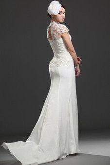 Robe de mariée naturel solennel sexy avec manche courte collant - Photo 2
