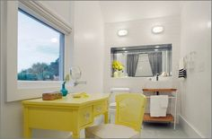Elegant Feminine Bathrooms Ideas Featuring Beach Style Bathroom With A Splash Of Yellow For The Table And Chairs Combined With Simple Diy Vanity Also Cool White Bathroom Lighting Ideas: Beautiful Feminine Bathrooms Ideas Provides A Refreshing Nuance
