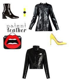 """#Patentleather"" by cat-forsley ❤ liked on Polyvore featuring Dorateymur, Courrèges, Christian Dior, Yazbukey and Valentino"