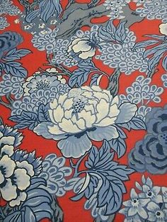 Chinoiserie Pagoda Designer Fabric by The Yard Blue Linen Texture meter Drapery Craft upholstery bedding pillow home decor cushion curtains