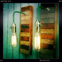 Pair Vintage Industrial Style Sconces Lamps with Reclaimed Wood Lath, Exposed Edison Bulbs Included. $250.00, via Etsy.
