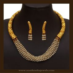 A Guide To Pick Latest Gold Jewellery Designs For Weddings! Antique Pearl Necklace, Pearl Necklace Designs, Pearl Necklace Set, Antique Jewelry, Beaded Necklace, Silver Earrings, Pandora Necklace, Necklace Ideas, Latest Gold Jewellery