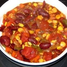 This recipe is a great alternative to traditional chili.  It combines onions, carrots, celery, red and green bell pepper, mushrooms, tomatoes and corn.