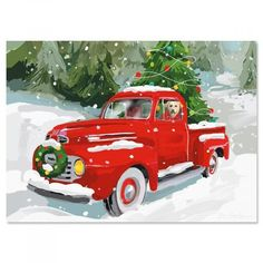 Cute Red Christmas Truck With Dog Holiday Postcard - holidays diy custom design cyo holiday family Christmas Red Truck, Christmas Scenes, Diy Christmas Tree, Christmas Pictures, Vintage Christmas, Christmas Ornaments, Christmas Ideas, Christmas Inspiration, Christmas Posters