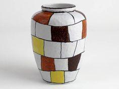50er Jahre Vintage Keramik Vase weiß gelb braun handgemalt