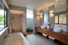 One of my requirements for a master bath:  a separate water closet.  I love this space, the vanity is gorgeous and the light is fantastic!