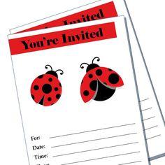 Lady bug party invitation  blank