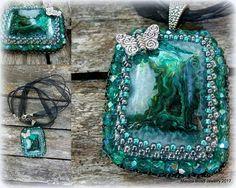 Macicabead Jewelry  Agate pendant Bead embroidery
