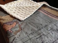 Vintage airplane world map travel babytoddler blanket 100 cotton world map minky blanket baby cuddle quilt vintage map of gumiabroncs Image collections