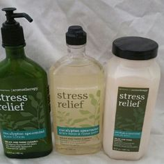 Bath and body works stress relief lot Comes with body lotion (6.5 FL. Oz), body wash (10 FL oz) and luxury bubble bath. All are brand new. bath and body works Other