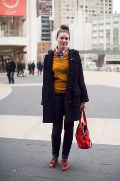 I'm a fan of the mustard color and the wool duffle coat. #fall