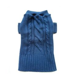 Medium Blue Thick Cable Knit Designer Dog Sweater