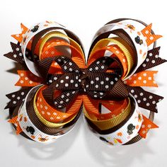 Gotta love the mickey and minnie :) Thanksgiving Mickey Minnie Mouse Turkey Stacked Boutique Hair Bow