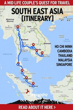 This South East Asia itinerary is a 45-day route, perfect for those wanting to cover the major attractions at a leisurely pace. We've also adjusted some alternate options for a 30-day tour. Culture, food, elephants and beach sessions, it's all here...#southeastasiaitinerary #traveltosoutheastasia #coupletravel #seaitinerary