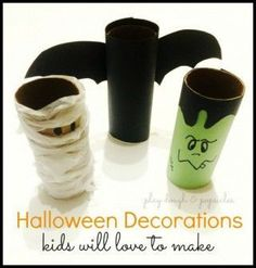 Halloween Decorations Kids Will Love To Make - Make with Toilet Paper Rolls. - Play Dough & Popsicles