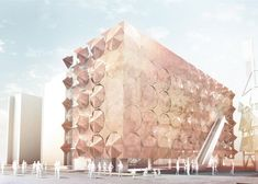 """""""Umbrella Facade for the Madrid Pavilion"""": Drawing on the common usage of shade umbrellas throughout this Chinese city, this retail/office pavilion (originally used for the Shanghai 2010 World's Fair) is bring reclad in articulating parasols. The entire facade is covered in Corten steel, with each umbrella operable by the office occupant. Separate controls will help customize the amount of light to enter the space while giving the facade a dynamic appearance.   Design: 3Gatti Architecture Studio"""