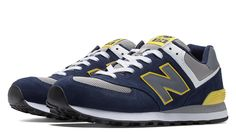 New Balance 574, Navy with Yellow & Grey