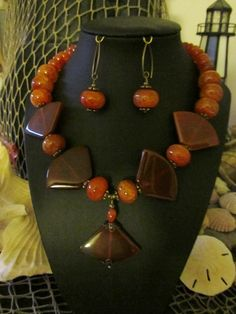 Carnelian Fan Necklace & Earring Set by PeaceofNatureJewelry, $55.00