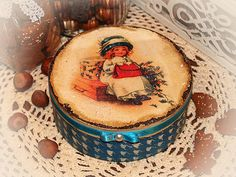 Christmas gifts Round Jewelry tea cookie box by HandmadeDecoupage, $49.00