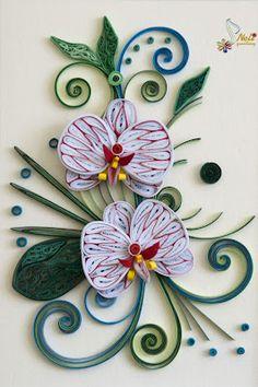 Quilled Orchid Card:  Neli, Neli quilling, Varna, Bulgaria