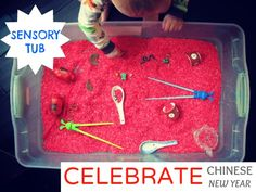 Sensory tubs are a hands on way to allow your child to learn through exploring objects, the colors and the feel of them, especially. Chinese New Year is a favorite of mine with the vibrant colors, lively festivals and profound traditions. Our Chinese New Year bin is simple. {from Marnie at Carrots Are Orange (www.carrotsareorange.com)}