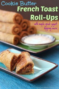 Cookie Butter French Toast Roll-Ups with Maple Greek Yogurt Dipping Sauce - you'll love these breakfast or brunch treats filled with Biscoff or Speculoos spread! Easy To Make Breakfast, What's For Breakfast, Breakfast Dishes, Breakfast Recipes, Brunch Recipes, Dessert Recipes, French Toast Roll Ups, Delicious Desserts, Yummy Food