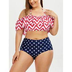 Chevron Star Print Plus Size Halter Bikini - Xl Mobile
