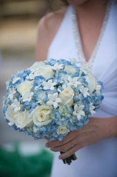 Blue Ivory Bouquet Wedding Flowers Photos & Pictures - WeddingWire.com
